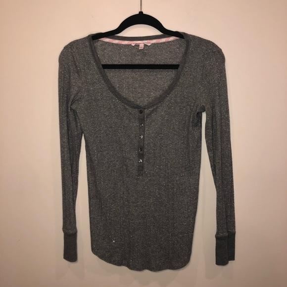 Victoria's Secret Tops - Victoria's Secret Gray Metallic Henley Long Sleeve